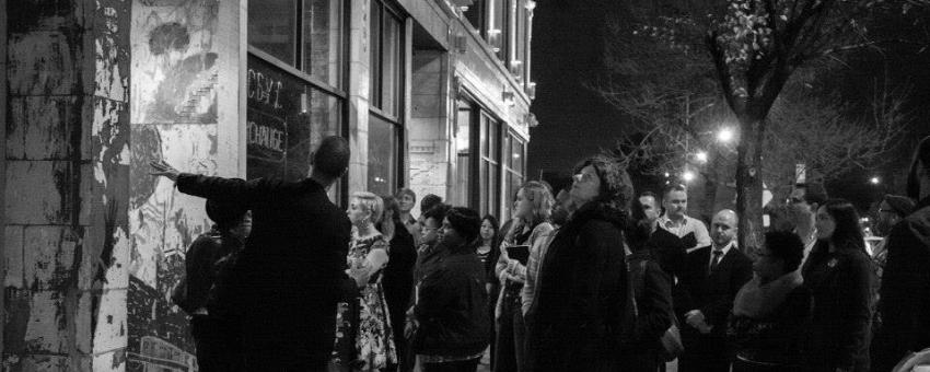 Gathering outside the Currency Cafe