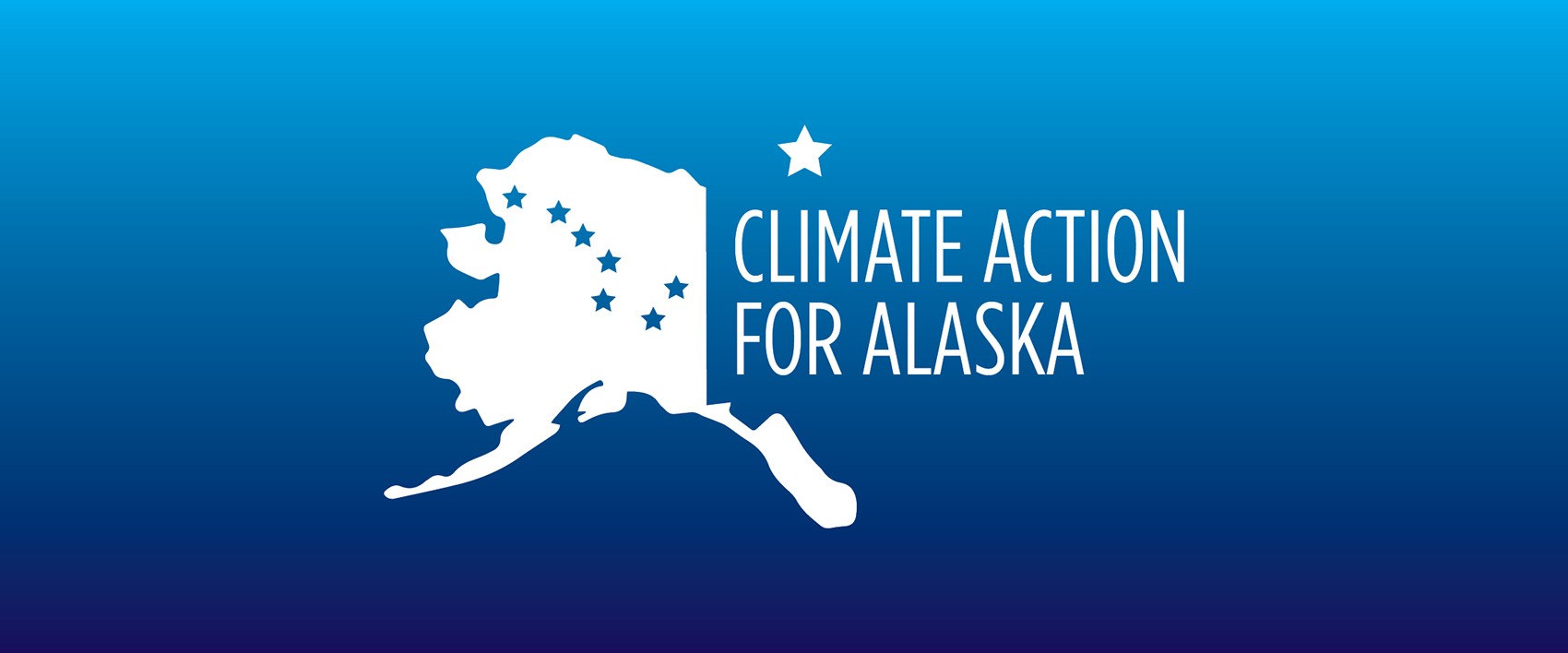 Climate Action for Alaska logo on blue field to introduce action areas slide show