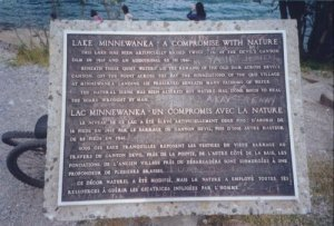 Expository plaque at Lake Minnewanka. Click for details!