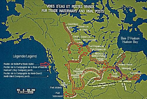 Carte de la traite des fourrures dans le Nord-Ouest.
