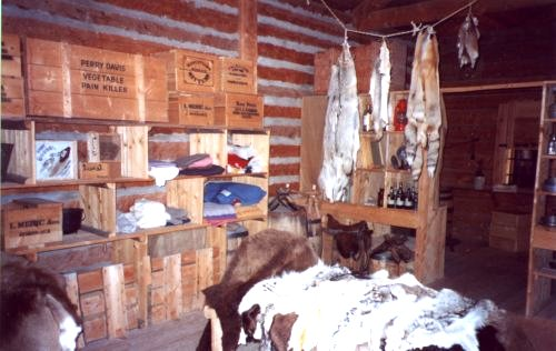 Furs and various boxes at Fort Whoop-Up