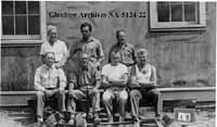 Internees at a Kanaskas camp: Antonio Rebaudengo is located in the front row, second from left.  Photo courtesy of Glenbow Archives.  NA-5124-22