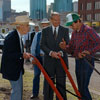 July 1991 - Grant MacEwan and Don Getty at the groundbreaking ceremony for the downtown campus of Grant MacEwan College