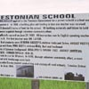A roadside sign marks the site of the Estonian School in the Medicine Valley. It operated from 1909 to 1954. Several teachers were Estonian pioneers, but English was the language of the classroom.