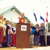 Dave Kiil speaks to a captive audience celebrating the Estonian-Canadian Centennial in Stettler in 1999.