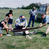 Log sawing is a traditional competition featured  at Jaanipäev celebrations.