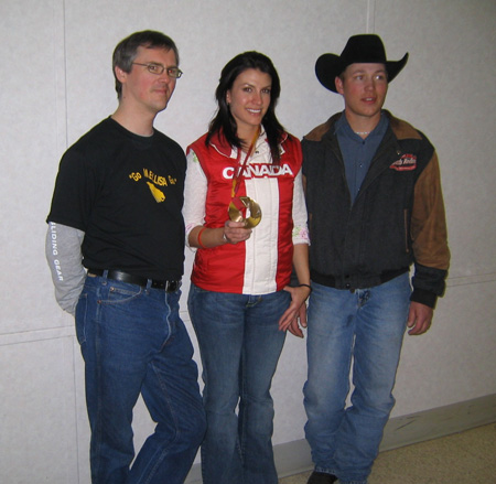 Mellisa Hollingsworth, a descendant of Alberta\'s Estonian pioneers, wins Olympic Bronze in Skeleton sliding at the Torino Winter Olympics in 2006. Pictured are: l to r: Ryan Davenport, Mellisa Hollingsworth and Billy Richards