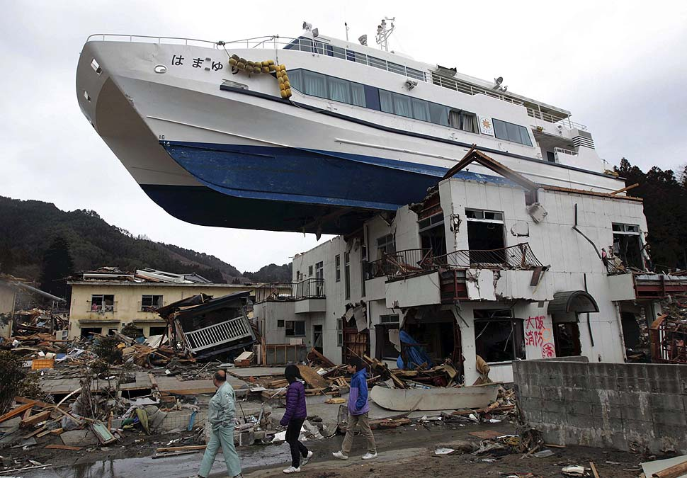 A boat sits atop a building in Otsuchi, Iwate Prefecture, following the devastating March 11 earthquake and tsunami.