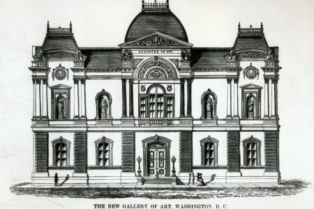 """The drawing reads, """"The new gallery of art, Washington, D.C. Renwick and Auchmuty, Architects"""""""