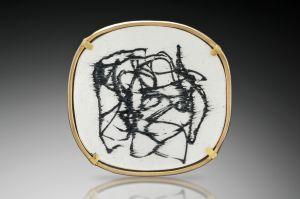 Vitreous enamel, 18K gold, 22K gold, fine silver, oxidized silver brooch