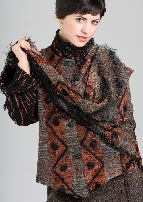 woven brown jacket with zigzag pattern