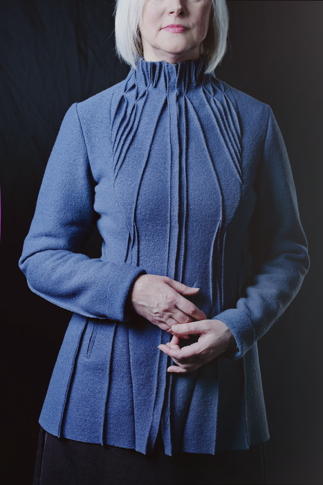 Blue long sleeved dress with ribbing