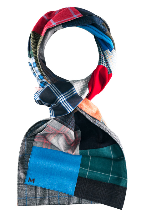 Looped multicolored patchwork scarf