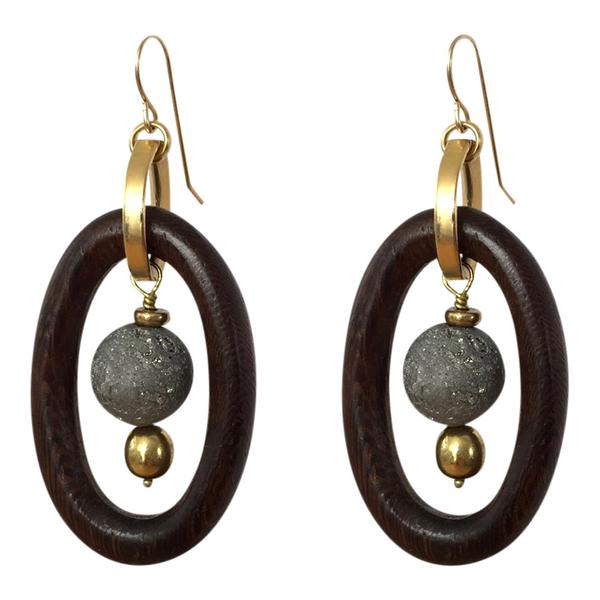 Two oval earrings with stone pendant hanging in middle