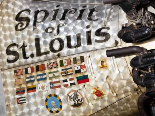 """A close up of the cowling of """"Spirit of St. Louis"""""""