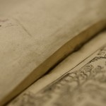 Verso edge of hooked Vellum guard in collected histories