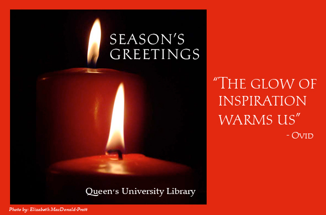 "Red candles alight on dark background. Quote: ""The Glow of Inspiration Warms Us"" - Ovid"