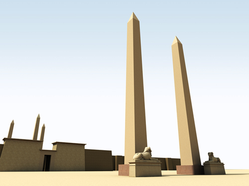 Rendering of Obelisks at Eastern Gate