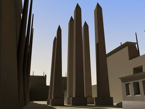 Rendering of Obelisks of Festival Hall Center Pair