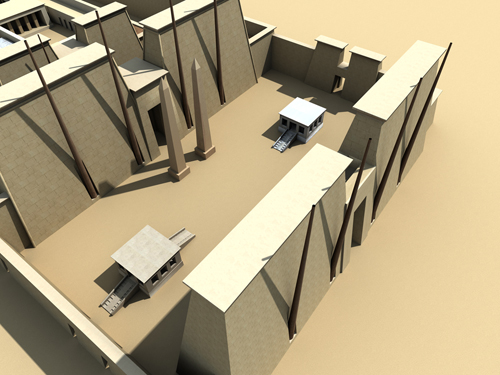 Rendering of Pylon and 'Festival Court' of Thutmose II
