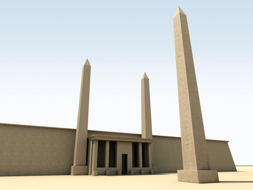 Rendering of Obelisks at Contra Temple