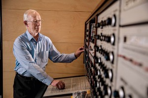 Rare instrument: Leslie Craythorn with the Synthi 100 at the Victorian College of the Arts.