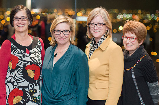 Professor Kelsey Hegarty (left), Rosie Batty, Professor Jane Gunn and Professor Cathy Humphreys at the Department of General Practice Awards. Picture: Joe Vittorio