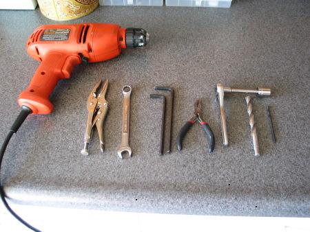 Tools used installing bags on Yamaha Road Star