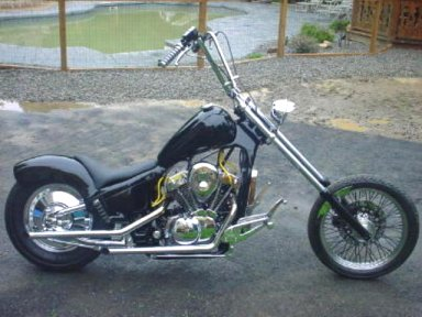 Steve went hardtail and stretched the frame downtubes a few inches on his 88 VT600 Shadow