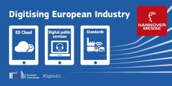 """graphic with the Hannover Messe logo and  3 tablets with texts """"EU Cloud"""" """"Digital public services"""" and """"Standards"""""""