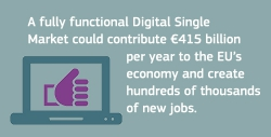 """graphic showing a laptop and a hand showing """"thumbs up"""" and text """"A fully functional Digital Single Market could contribute €415 billion per year to the EU's economy and create hundreds of thousands of new jobs"""