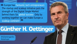 Image of Commissioner Oettinger with a quote on the startup and scaleup initiative