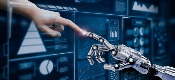 image of a human hand touching a digital hand
