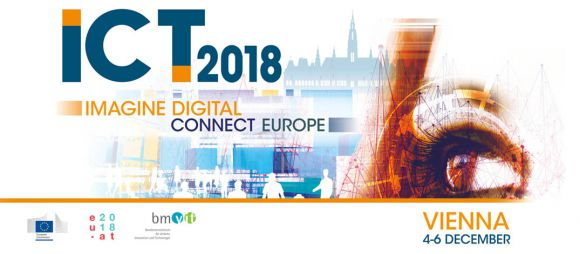 ICT 2018 poster (eye, Viennese Stephansdom, human figures) with Austrian Presidency logo and European Commission logo