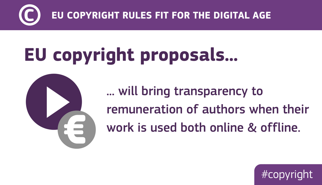 EU copyright proposals will bring transparency to remuneration of authors when their work is used both online & offline.