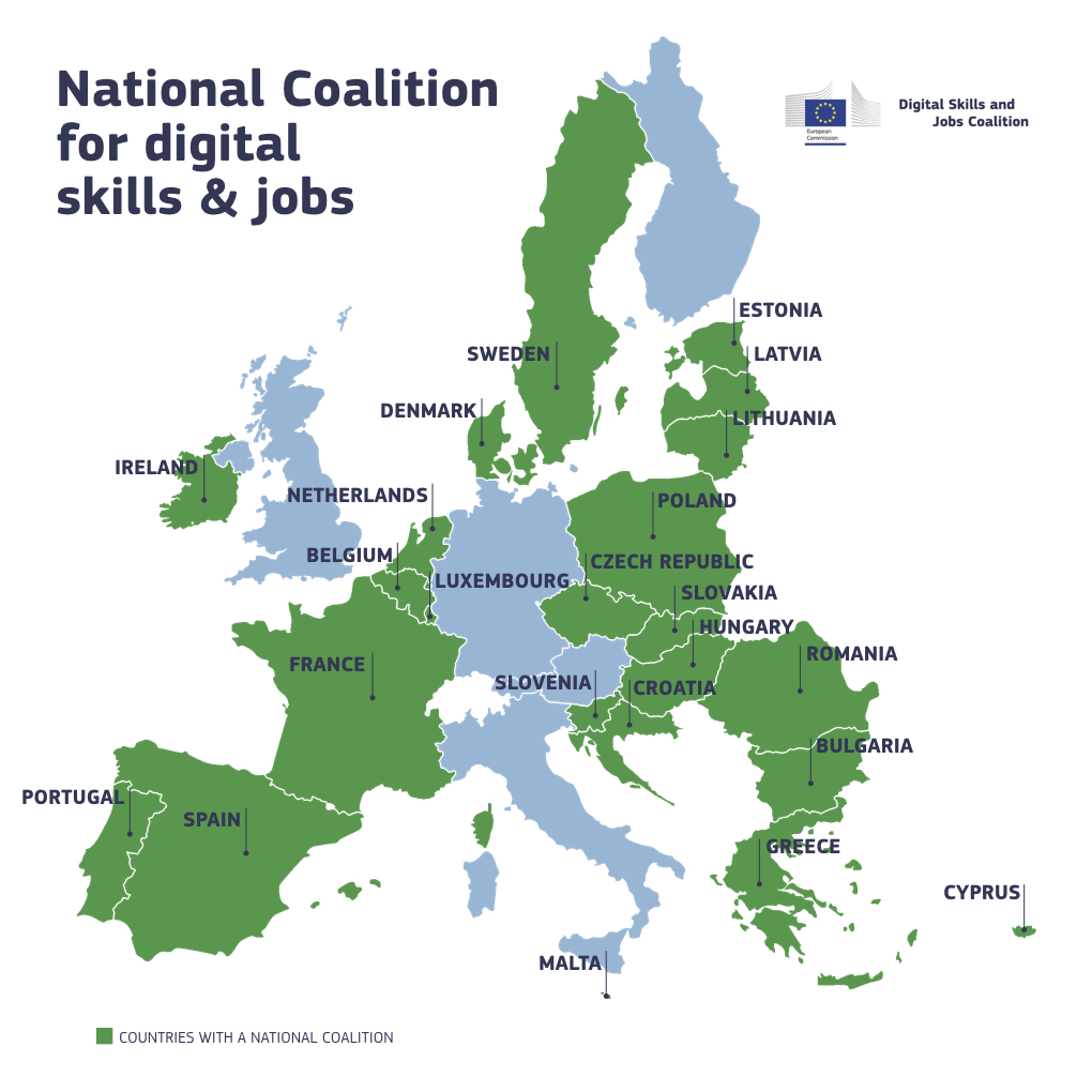 Map of Europe with the 20 National Coalitions highlighted