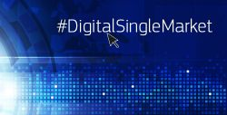 Graphic with blue colours and hasthag DigitalSingleMarket