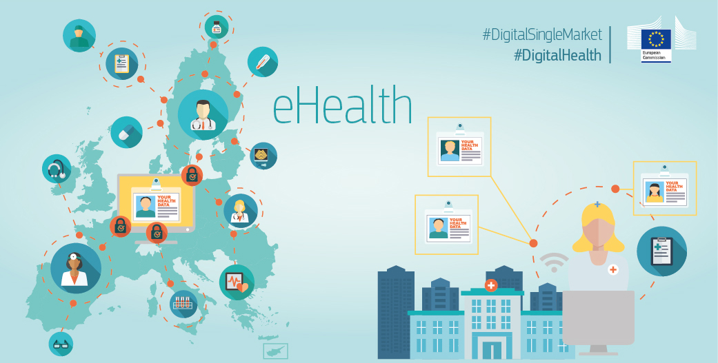 Outline of Europe with icons related to health centres, data and security online. On the right a hospital with images relating to health data.
