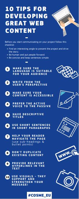 10 tips for develping great web content - infographic