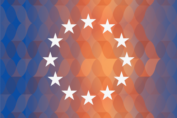 European flag on blue and red background
