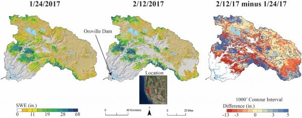 Real time spatial snow water equivalent maps for the Feather River watershed