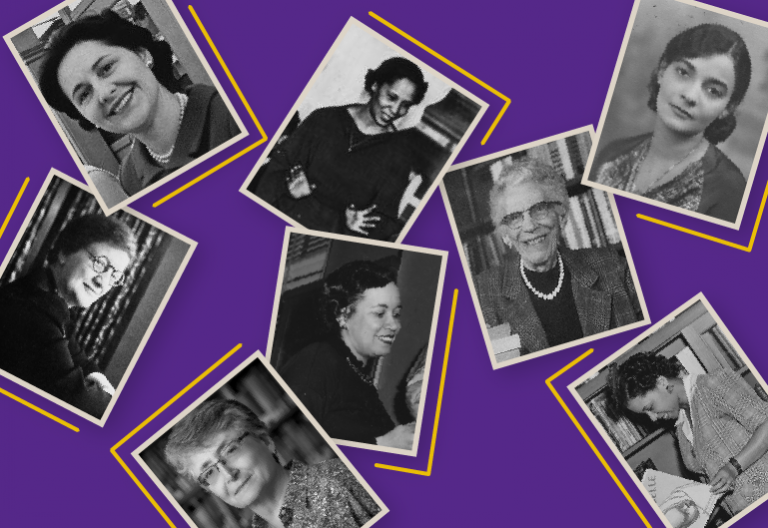 Purple banner featuring black and white photos of women of various races.