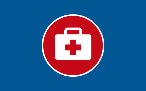 Red and white medical case with first aid cross on a blue background.