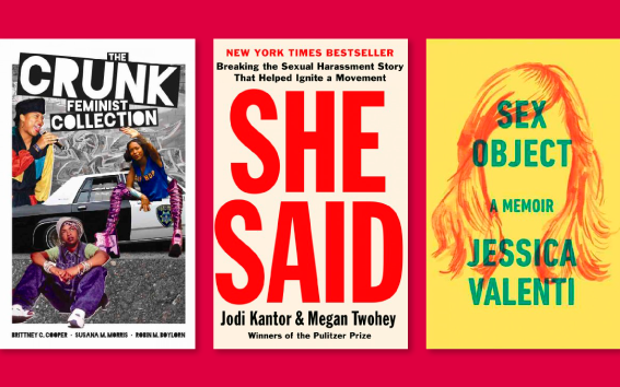 Three book covers against red background: Crunk Feminism, She Said, and Sex Object.