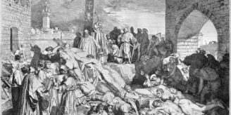 Etching showing plague