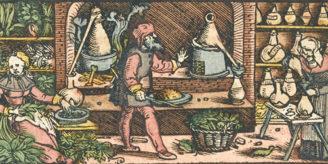 Medieval distillation workshop