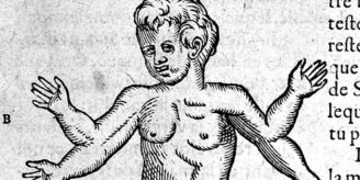 Images of gifure with four arms from early modern book.