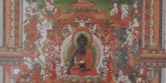 Chinese image of plants and buddha.