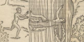 Woodcut of swimming.
