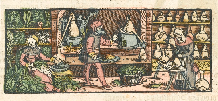 Medieval distillation workshop